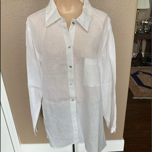 Cut Loose white button down long sleeve top Large